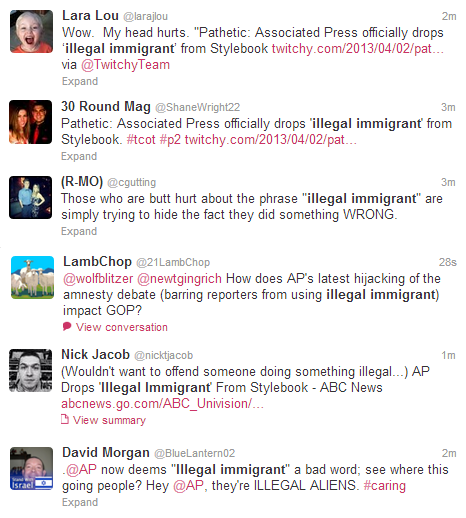 "Tweets on ""illegal immigrant"" AP Change"